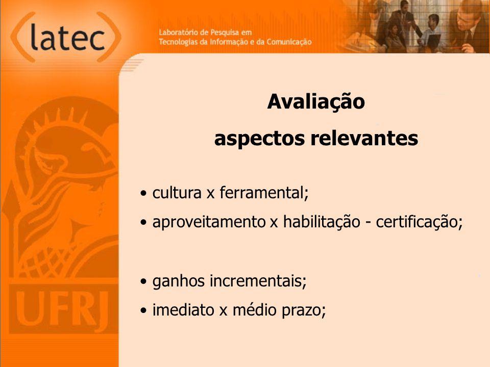 cultura x ferramental; aproveitamento x habilitação - certificação; ganhos incrementais; imediato x médio prazo; Avaliação aspectos relevantes
