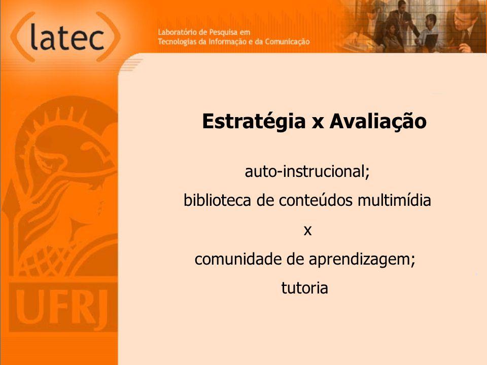 auto-instrucional; biblioteca de conteúdos multimídia x comunidade de aprendizagem; tutoria Estratégia x Avaliação
