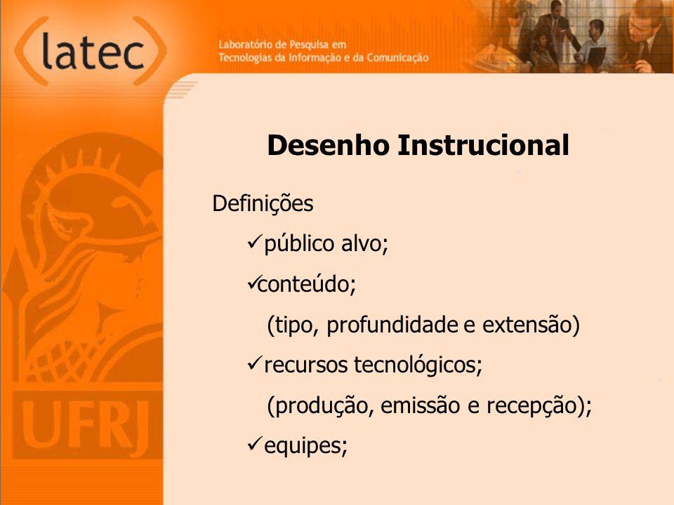 Desenho Instrucional Definições público alvo; conteúdo; (tipo, profundidade e extensão) recursos tecnológicos; (produção, emissão e recepção); equipes;