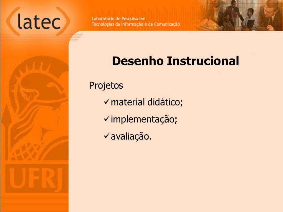 Desenho Instrucional Projetos material didático; implementação; avaliação.