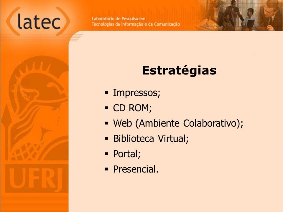 Impressos; CD ROM; Web (Ambiente Colaborativo); Biblioteca Virtual; Portal; Presencial. Estratégias