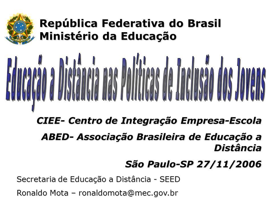 República Federativa do Brasil Ministério da Educação Secretaria de Educação a Distância - SEED Ronaldo Mota – ronaldomota@mec.gov.br CIEE- Centro de