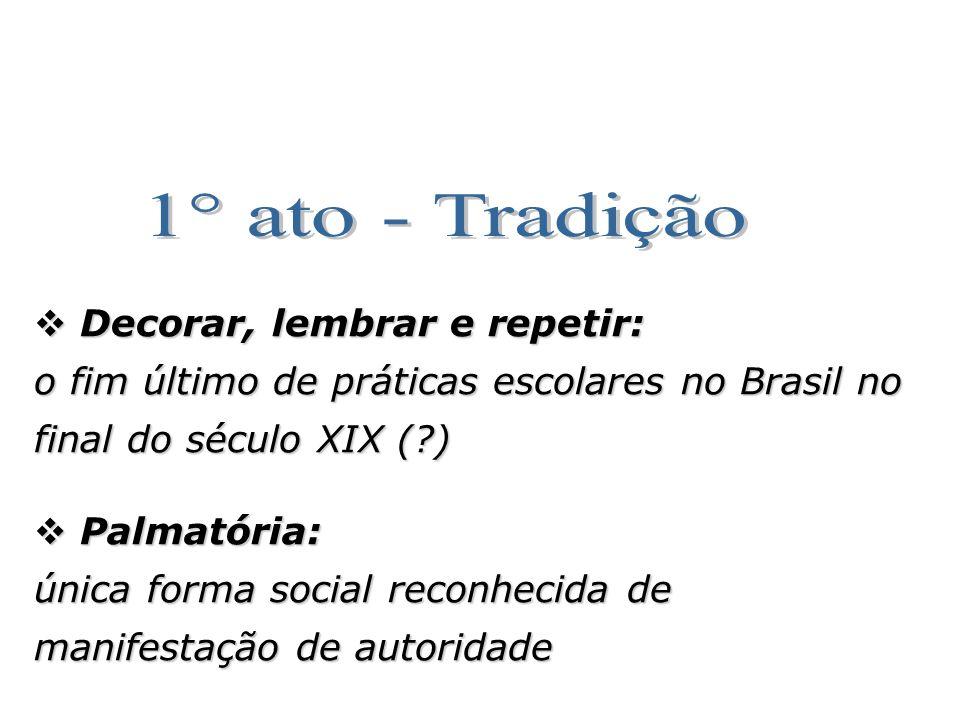 Decorar, lembrar e repetir: Decorar, lembrar e repetir: o fim último de práticas escolares no Brasil no final do século XIX (?) Palmatória: Palmatória