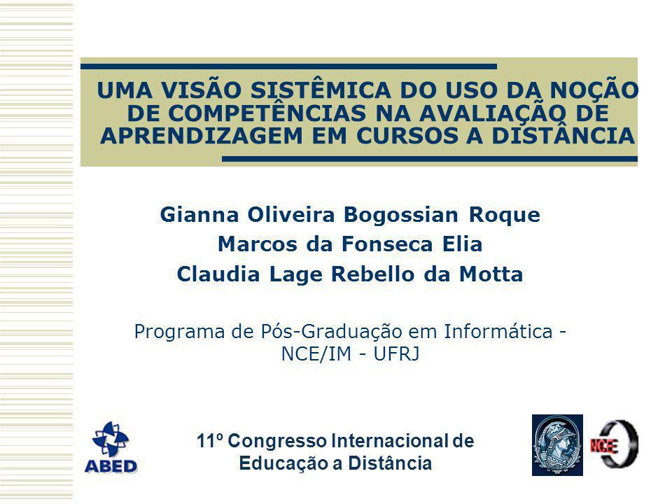 UMA VISÃO SISTÊMICA DO USO DA NOÇÃO DE COMPETÊNCIAS NA AVALIAÇÃO DE APRENDIZAGEM EM CURSOS A DISTÂNCIA Gianna Oliveira Bogossian Roque Marcos da Fonse