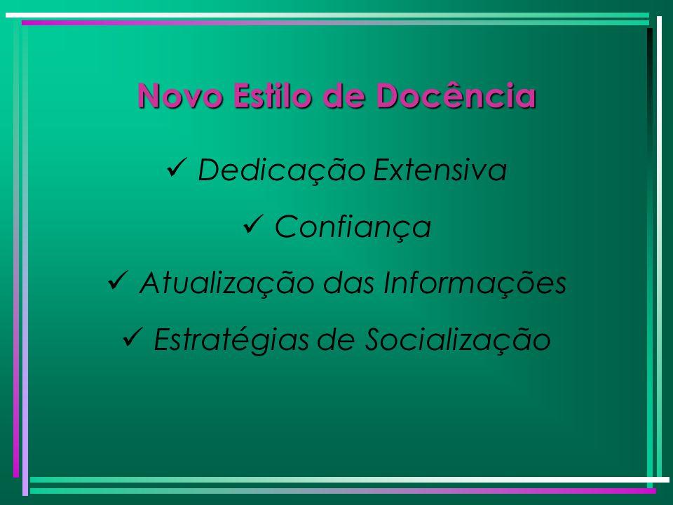 Novo Estilo de Docência Dedicação Extensiva Confiança Atualização das Informações Estratégias de Socialização