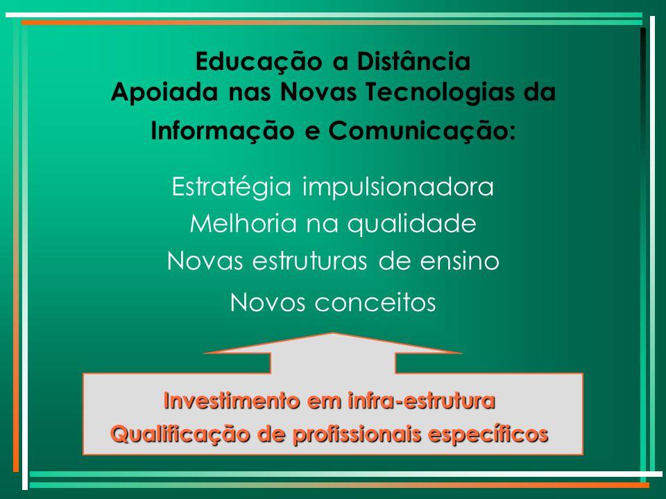 Educação a Distância Apoiada nas Novas Tecnologias da Informação e Comunicação: Estratégia impulsionadora Melhoria na qualidade Novas estruturas de en
