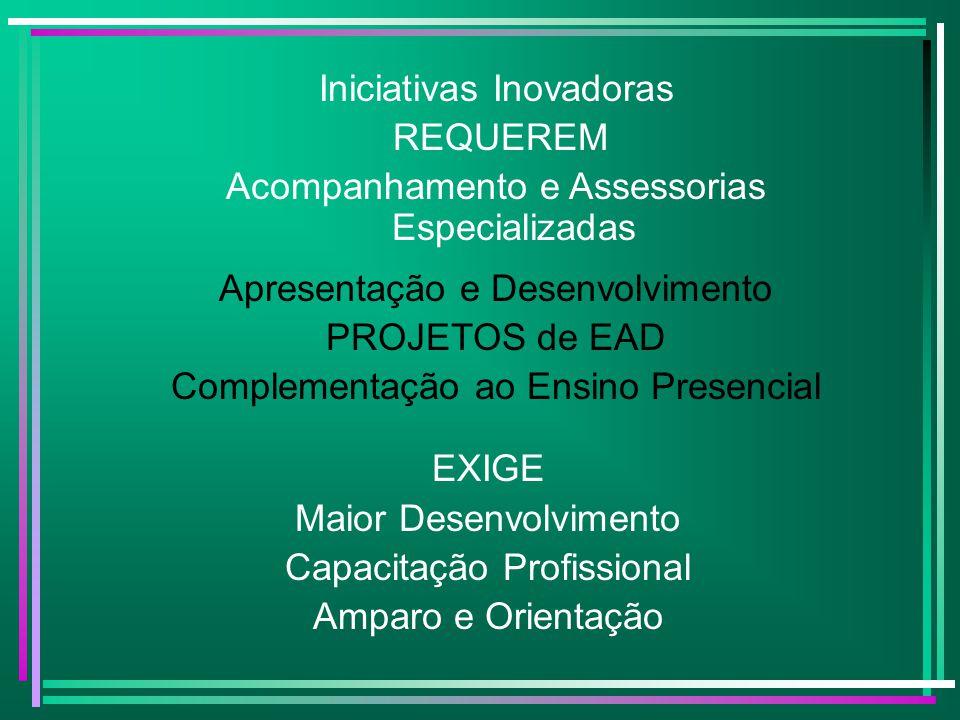 Experiências de EAD em apoio ao Ensino Presencial Iniciativas na implantação de sistemas híbridos de ensino e aprendizagem; Desenvolvimento de ambientes virtuais que permitem a aprendizagem colaborativa; Implantação de atividades a distância para a complementação de cursos presenciais.