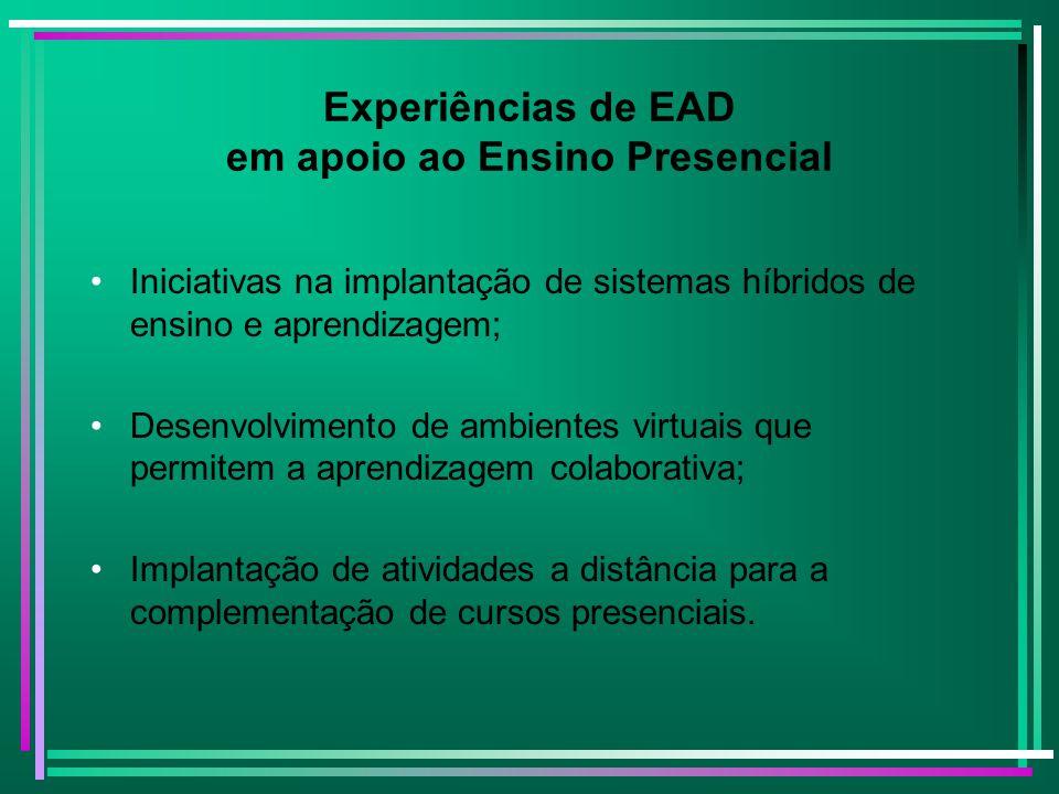 Experiências de EAD em apoio ao Ensino Presencial Iniciativas na implantação de sistemas híbridos de ensino e aprendizagem; Desenvolvimento de ambient