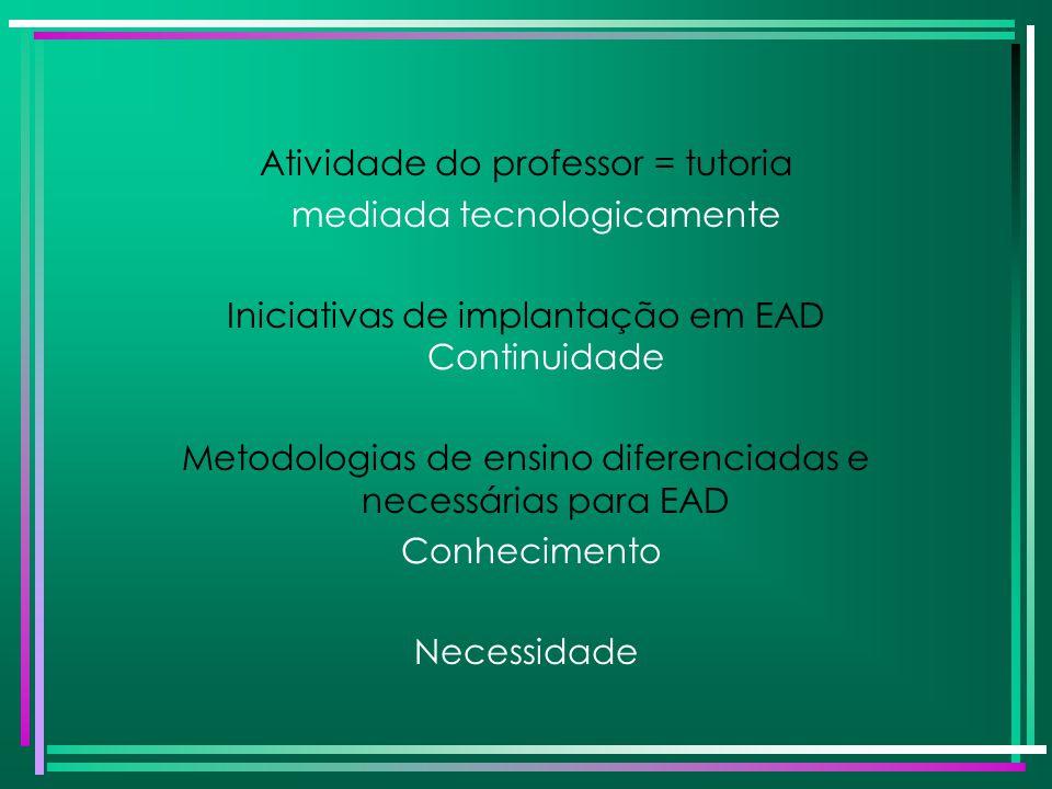 Atividade do professor = tutoria mediada tecnologicamente Iniciativas de implantação em EAD Continuidade Metodologias de ensino diferenciadas e necess