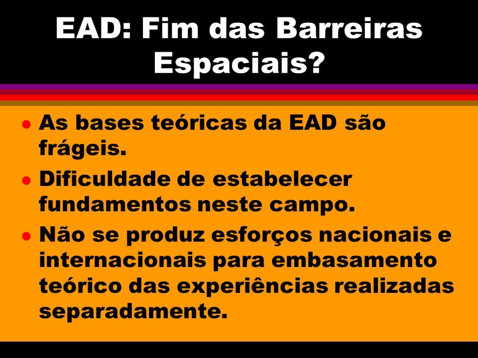 EAD: Fim das Barreiras Espaciais. l As bases teóricas da EAD são frágeis.