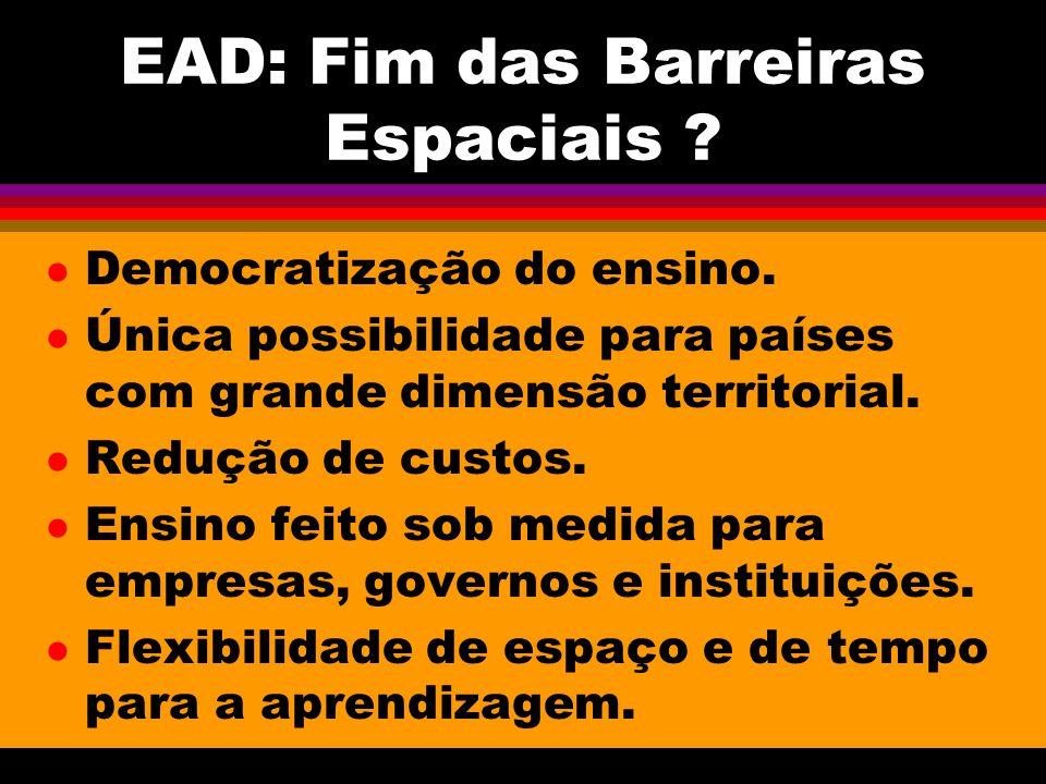 EAD: Fim das Barreiras Espaciais .l Democratização do ensino.