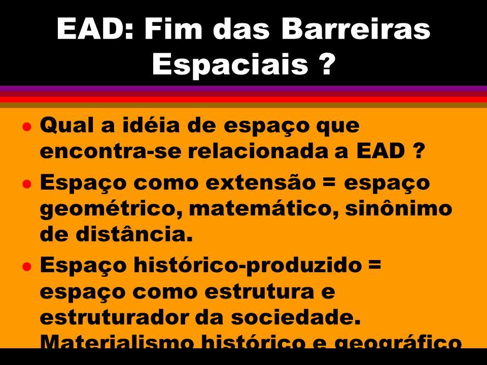 EAD: Fim das Barreiras Espaciais . l Qual a idéia de espaço que encontra-se relacionada a EAD .