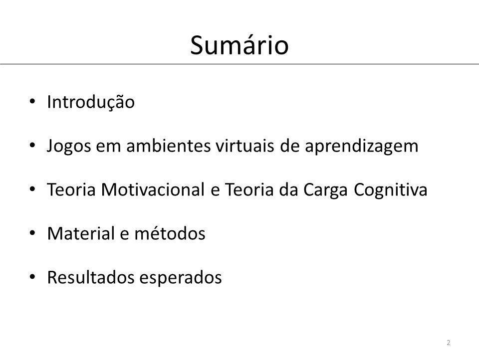 Sumário Introdução Jogos em ambientes virtuais de aprendizagem Teoria Motivacional e Teoria da Carga Cognitiva Material e métodos Resultados esperados 2