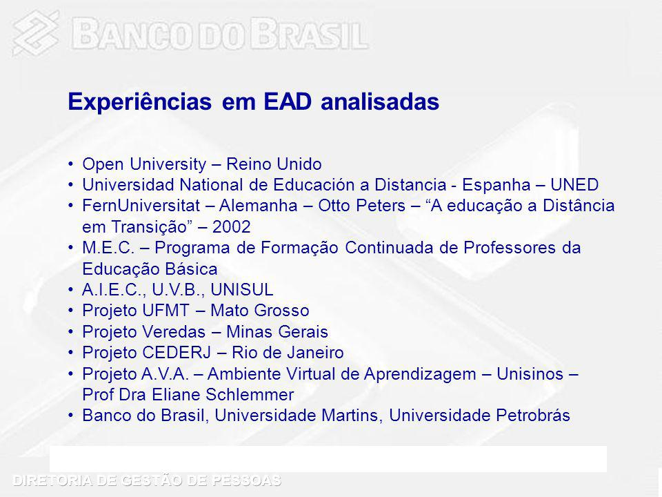 Open University – Reino Unido Universidad National de Educación a Distancia - Espanha – UNED FernUniversitat – Alemanha – Otto Peters – A educação a D