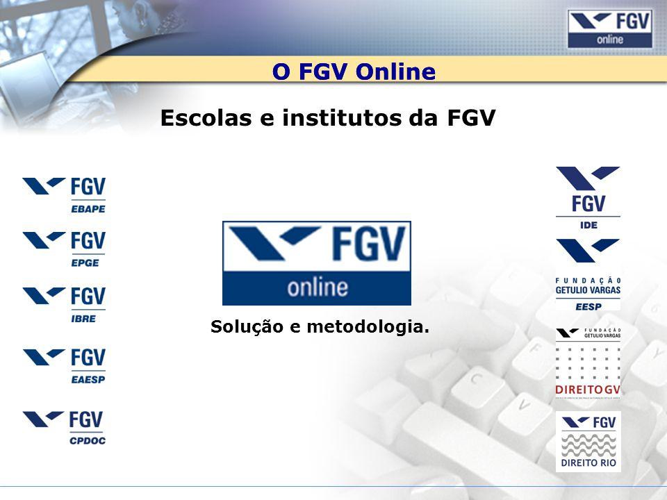 O FGV Online Escolas e institutos da FGV Solução e metodologia.