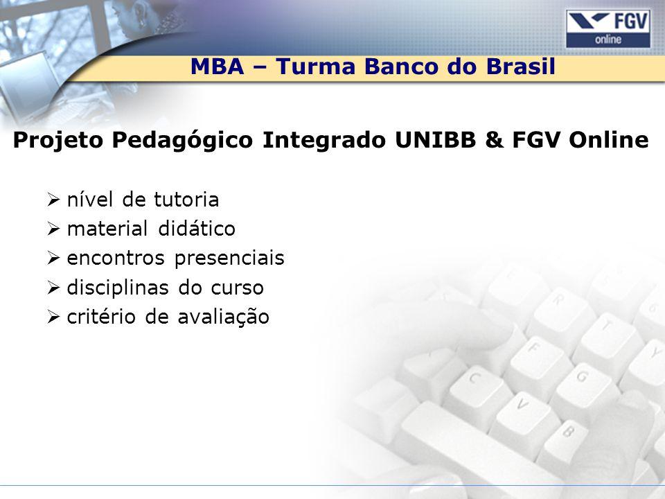 MBA – Turma Banco do Brasil Projeto Pedagógico Integrado UNIBB & FGV Online nível de tutoria material didático encontros presenciais disciplinas do cu