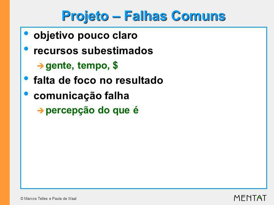 © Marcos Telles e Paula de Waal Projeto – Falhas Comuns objetivo pouco claro recursos subestimados gente, tempo, $ falta de foco no resultado comunicação falha percepção do que é