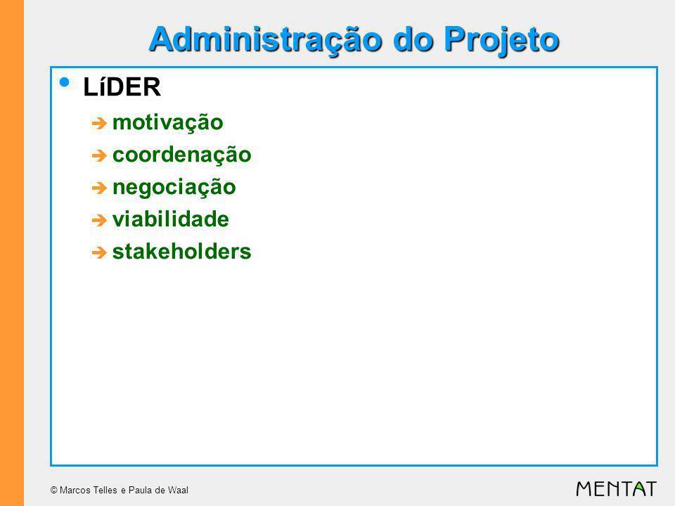 © Marcos Telles e Paula de Waal Administração do Projeto LíDER motivação coordenação negociação viabilidade stakeholders