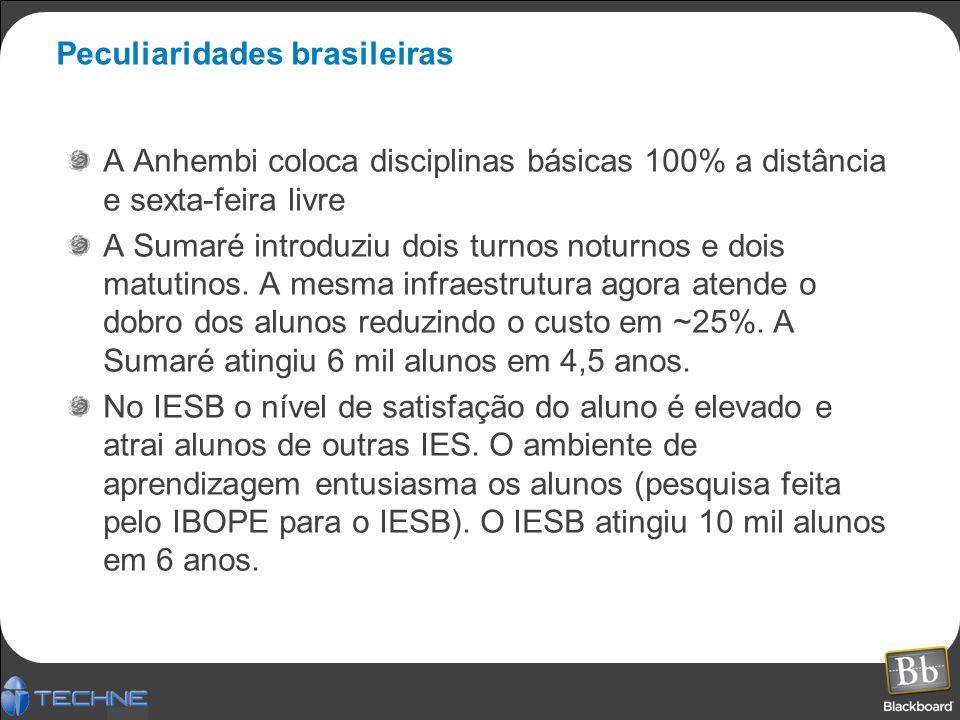 Peculiaridades brasileiras A Anhembi coloca disciplinas básicas 100% a distância e sexta-feira livre A Sumaré introduziu dois turnos noturnos e dois matutinos.