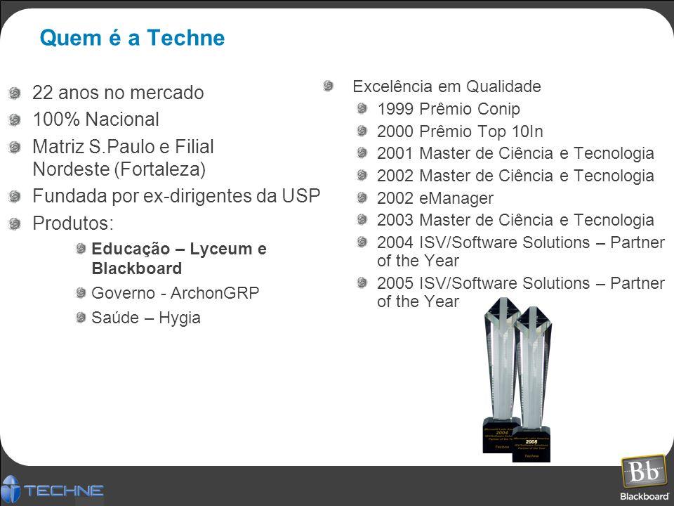 Quem é a Techne 22 anos no mercado 100% Nacional Matriz S.Paulo e Filial Nordeste (Fortaleza) Fundada por ex-dirigentes da USP Produtos: Educação – Ly