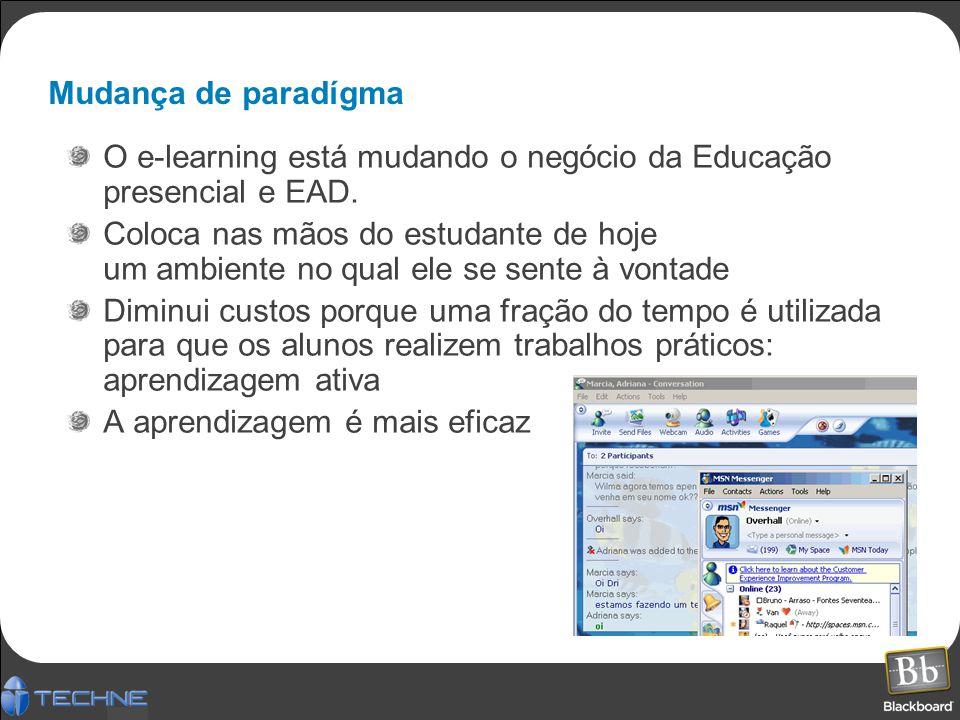 Mudança de paradígma O e-learning está mudando o negócio da Educação presencial e EAD. Coloca nas mãos do estudante de hoje um ambiente no qual ele se
