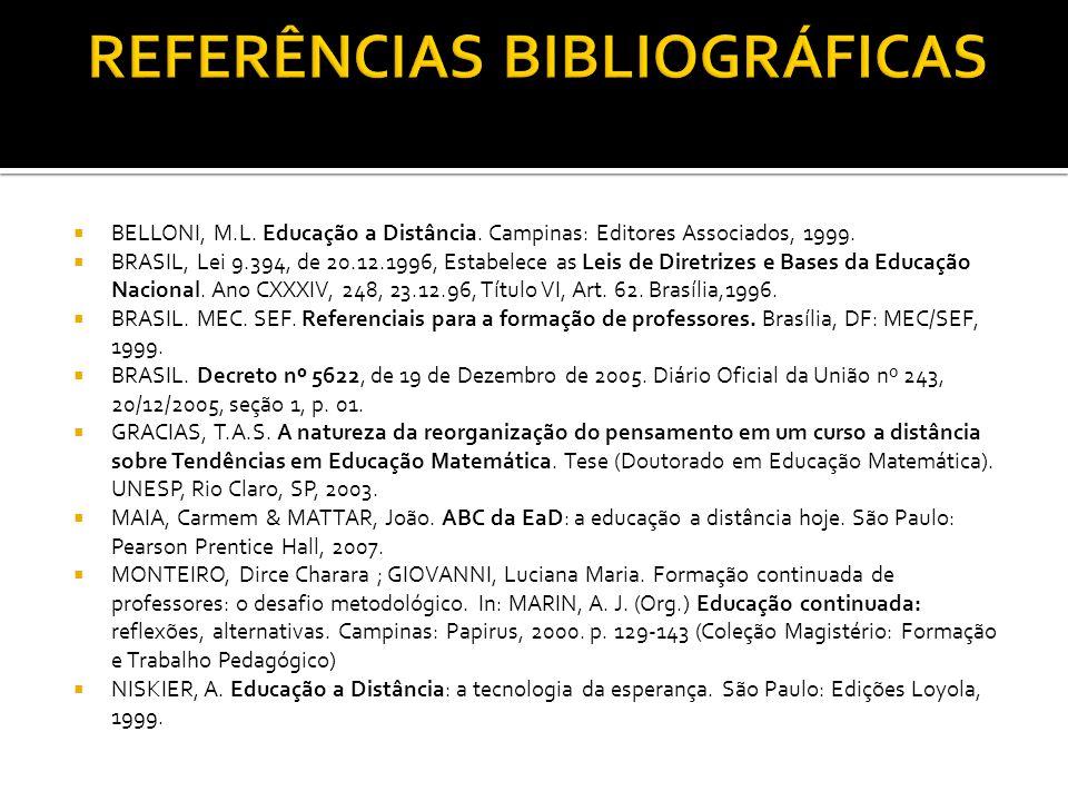 BELLONI, M.L. Educação a Distância. Campinas: Editores Associados, 1999. BRASIL, Lei 9.394, de 20.12.1996, Estabelece as Leis de Diretrizes e Bases da