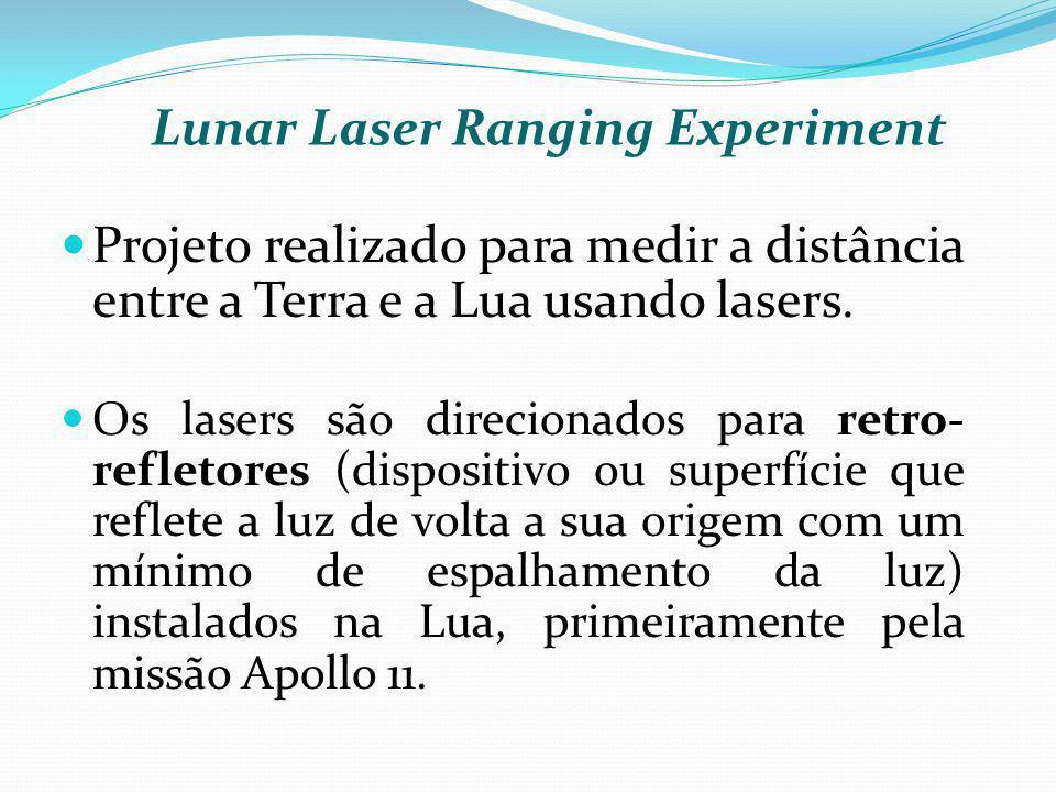 Projeto realizado para medir a distância entre a Terra e a Lua usando lasers. Os lasers são direcionados para retro- refletores (dispositivo ou superf