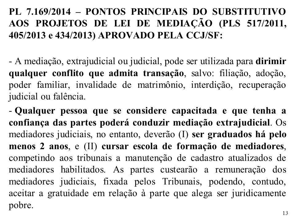 PL 7.169/2014 – PONTOS PRINCIPAIS DO SUBSTITUTIVO AOS PROJETOS DE LEI DE MEDIAÇÃO (PLS 517/2011, 405/2013 e 434/2013) APROVADO PELA CCJ/SF: - A mediaç