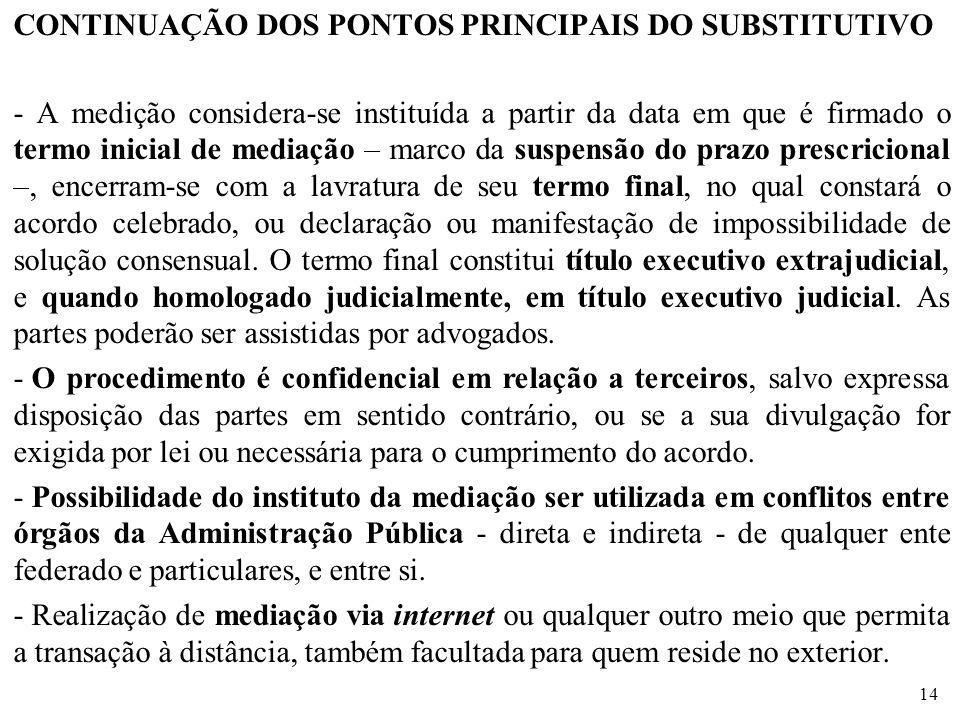 CONTINUAÇÃO DOS PONTOS PRINCIPAIS DO SUBSTITUTIVO - A medição considera-se instituída a partir da data em que é firmado o termo inicial de mediação –