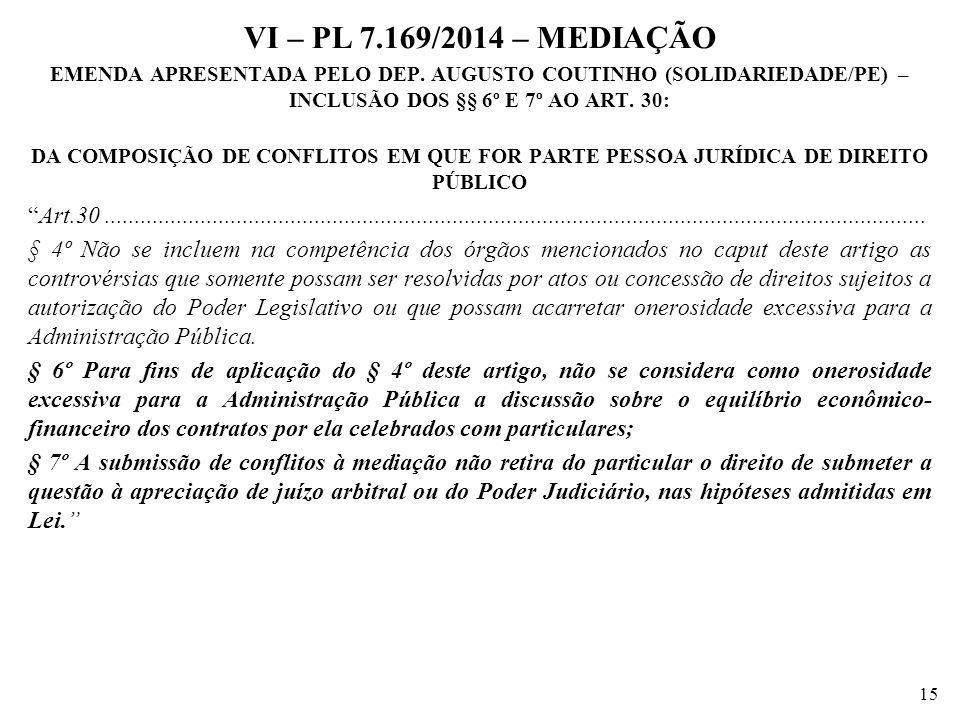 VI – PL 7.169/2014 – MEDIAÇÃO EMENDA APRESENTADA PELO DEP. AUGUSTO COUTINHO (SOLIDARIEDADE/PE) – INCLUSÃO DOS §§ 6º E 7º AO ART. 30: DA COMPOSIÇÃO DE