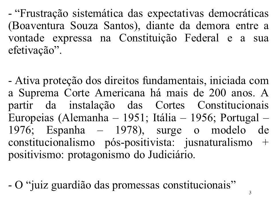 - Frustração sistemática das expectativas democráticas (Boaventura Souza Santos), diante da demora entre a vontade expressa na Constituição Federal e