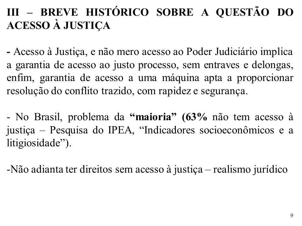 III – BREVE HISTÓRICO SOBRE A QUESTÃO DO ACESSO À JUSTIÇA - Acesso à Justiça, e não mero acesso ao Poder Judiciário implica a garantia de acesso ao ju