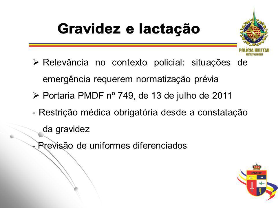 Portaria PMDF nº 749, de 13 de julho de 2011 -Lactação: até o primeiro ano de vida, lotação em unidade conveniente -Horário especial para amamentação -Escalas de no máximo 12 (doze) horas de serviço, no período entre 6 e 19 horas
