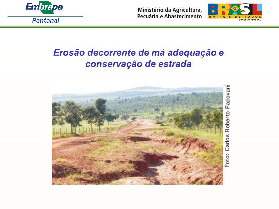 Erosão decorrente de má adequação e conservação de estrada