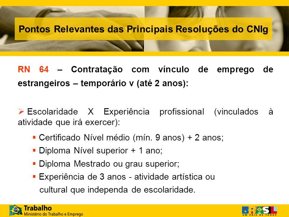 Pontos Relevantes das Principais Resoluções do CNIg RN 64 – Contratação com vínculo de emprego de estrangeiros – temporário v (até 2 anos): Escolaridade X Experiência profissional (vinculados à atividade que irá exercer): Certificado Nível médio (mín.