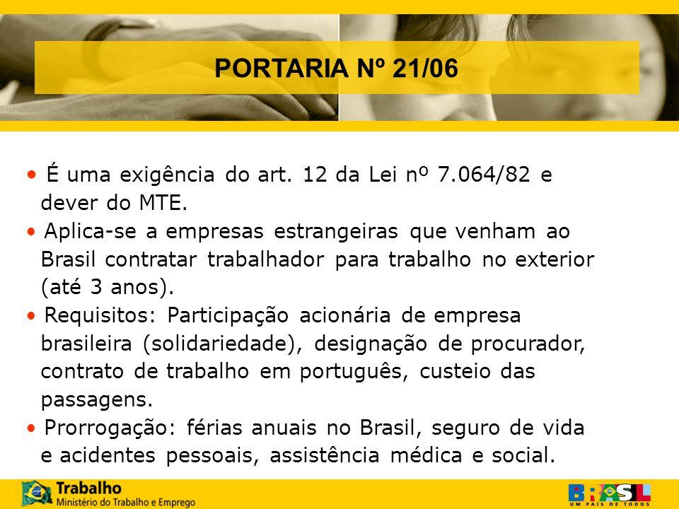 PORTARIA Nº 21/06 É uma exigência do art.12 da Lei nº 7.064/82 e dever do MTE.