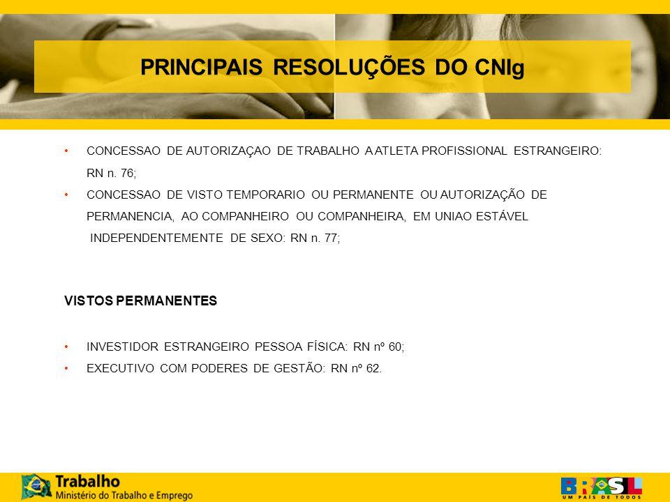 PRINCIPAIS RESOLUÇÕES DO CNIg CONCESSAO DE AUTORIZAÇAO DE TRABALHO A ATLETA PROFISSIONAL ESTRANGEIRO: RN n.