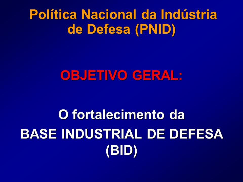 Política Nacional da Indústria de Defesa (PNID) Política Nacional da Indústria de Defesa (PNID) OBJETIVO GERAL: O fortalecimento da BASE INDUSTRIAL DE DEFESA (BID)
