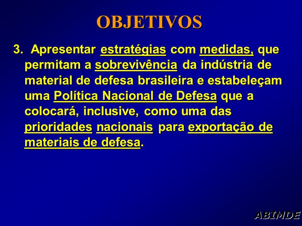 3. Apresentar estratégias com medidas, que permitam a sobrevivência da indústria de material de defesa brasileira e estabeleçam uma Política Nacional