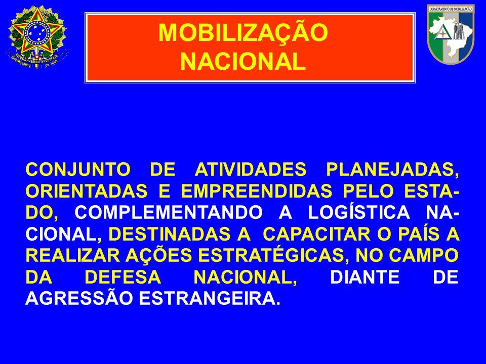 MOBILIZAÇÃO NACIONAL CONJUNTO DE ATIVIDADES PLANEJADAS, ORIENTADAS E EMPREENDIDAS PELO ESTA- DO, COMPLEMENTANDO A LOGÍSTICA NA- CIONAL, DESTINADAS A C