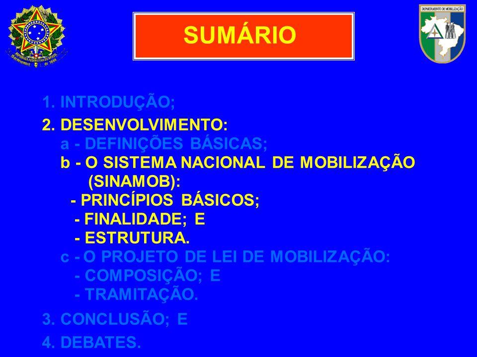 SUMÁRIO 1. INTRODUÇÃO; 2. DESENVOLVIMENTO: a - DEFINIÇÕES BÁSICAS; b - O SISTEMA NACIONAL DE MOBILIZAÇÃO (SINAMOB): - PRINCÍPIOS BÁSICOS; - FINALIDADE