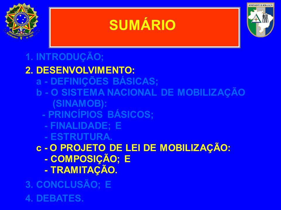 1. INTRODUÇÃO; 2. DESENVOLVIMENTO: a - DEFINIÇÕES BÁSICAS; b - O SISTEMA NACIONAL DE MOBILIZAÇÃO (SINAMOB): - PRINCÍPIOS BÁSICOS; - FINALIDADE; E - ES