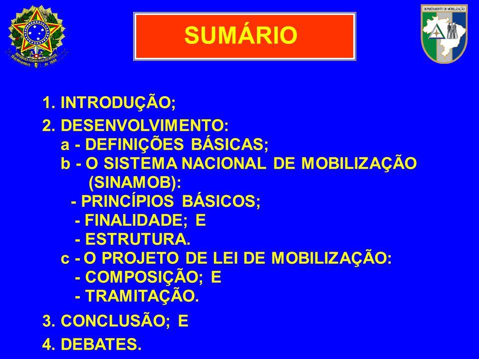 MOBILIZAÇÃO NACIONAL CONJUNTO DE ATIVIDADES PLANEJADAS, ORIENTADAS E EMPREENDIDAS PELO ESTA- DO, COMPLEMENTANDO A LOGÍSTICA NA- CIONAL, DESTINADAS A CAPACITAR O PAÍS A REALIZAR AÇÕES ESTRATÉGICAS, NO CAMPO DA DEFESA NACIONAL, DIANTE DE AGRESSÃO ESTRANGEIRA.