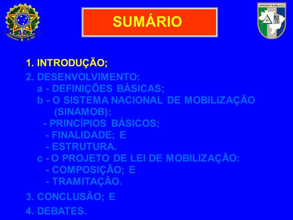 CONJUNTO DE ATIVIDADES EMPRE- ENDIDAS OU ORIENTADAS PELO ESTADO, DE MODO CONTÍNUO, METÓDICO E PERMANEN- TE, DESDE A SITUAÇÃO DE NORMALIDADE, VISANDO A FACILITAR A EXECUÇÃO DA MOBILIZAÇÃO NACIONAL.