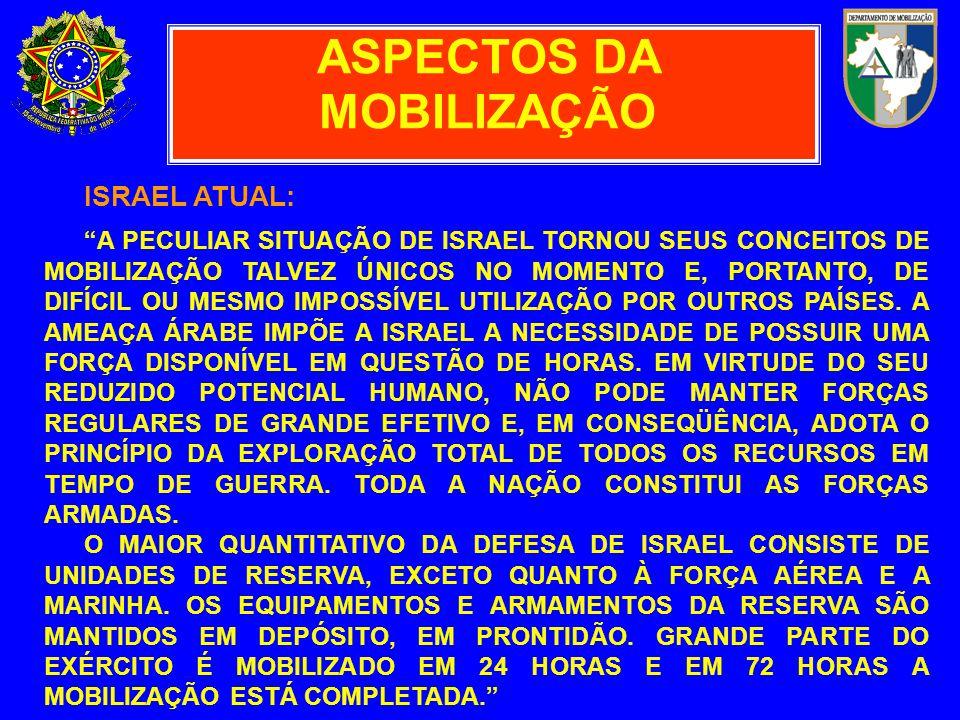 ISRAEL ATUAL: A PECULIAR SITUAÇÃO DE ISRAEL TORNOU SEUS CONCEITOS DE MOBILIZAÇÃO TALVEZ ÚNICOS NO MOMENTO E, PORTANTO, DE DIFÍCIL OU MESMO IMPOSSÍVEL UTILIZAÇÃO POR OUTROS PAÍSES.