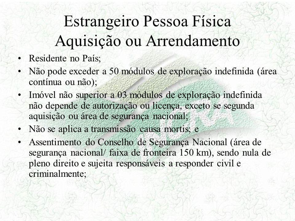 Estrangeiro Pessoa Física Aquisição ou Arrendamento Residente no País; Não pode exceder a 50 módulos de exploração indefinida (área contínua ou não);