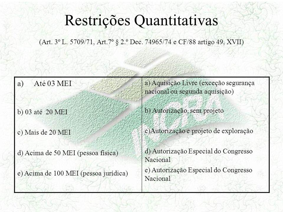 Restrições Quantitativas (Art. 3º L. 5709/71, Art.7º § 2.º Dec. 74965/74 e CF/88 artigo 49, XVII) a)Até 03 MEI b) 03 até 20 MEI c) Mais de 20 MEI d) A