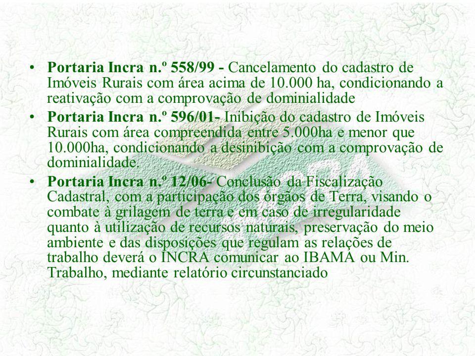 Portaria Incra n.º 558/99 - Cancelamento do cadastro de Imóveis Rurais com área acima de 10.000 ha, condicionando a reativação com a comprovação de do