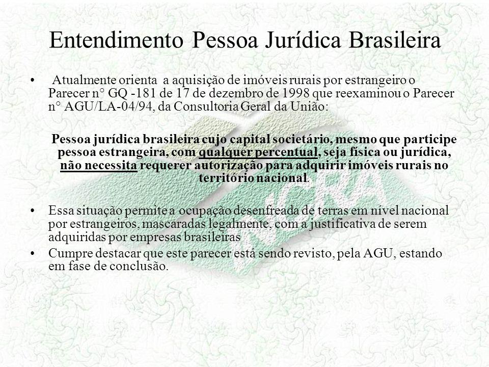 Entendimento Pessoa Jurídica Brasileira Atualmente orienta a aquisição de imóveis rurais por estrangeiro o Parecer n° GQ -181 de 17 de dezembro de 199