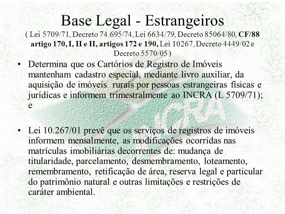 Base Legal - Estrangeiros ( Lei 5709/71, Decreto 74.695/74, Lei 6634/79, Decreto 85064/80, CF/88 artigo 170, I, II e II, artigos 172 e 190, Lei 10267,